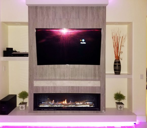 STONE FACE LINEAR FIREPLACE